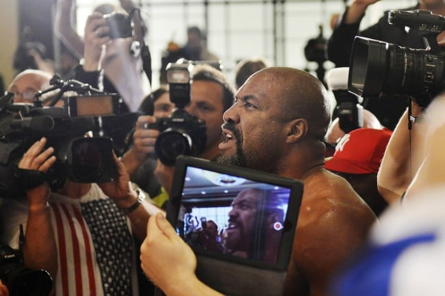 VIDEO: Shannon Briggs invades Klitschko-Leapai press conference